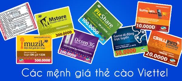 Các mệnh giá thẻ cào Viettel trên thị trường