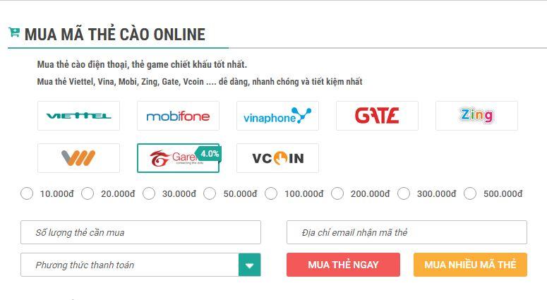 cách mua thẻ garena online