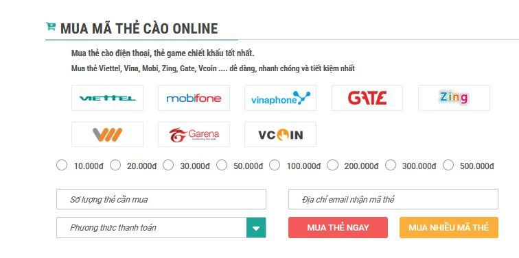 cách mua mã thẻ cào điện thoại trực tuyến