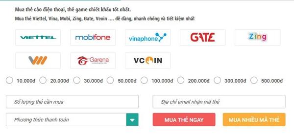 nạp tiên điện thoại qua Techcombank
