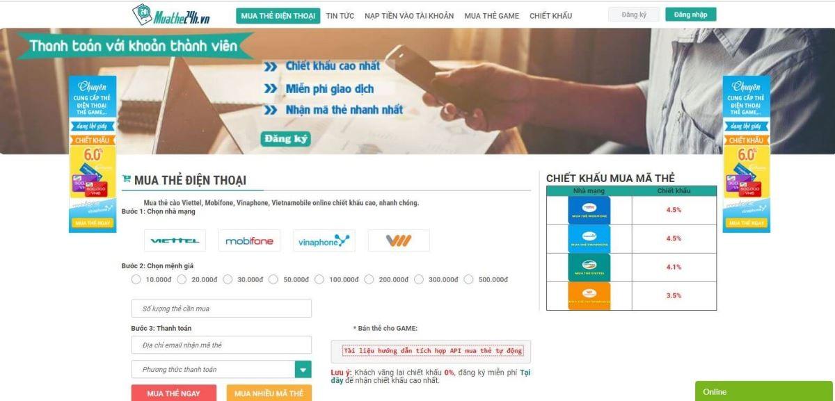 Mua thẻ điện thoại chiết khấu cao tại Hà Nội duy nhất với muathe24h.vn