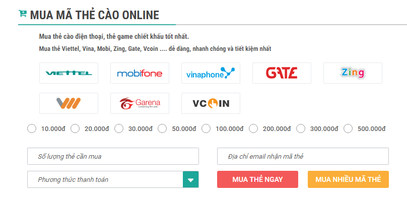 Mua thẻ cào Mobifone dễ dàng