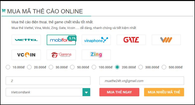 Mua thẻ điện thoại bằng internet banking Vietcombank