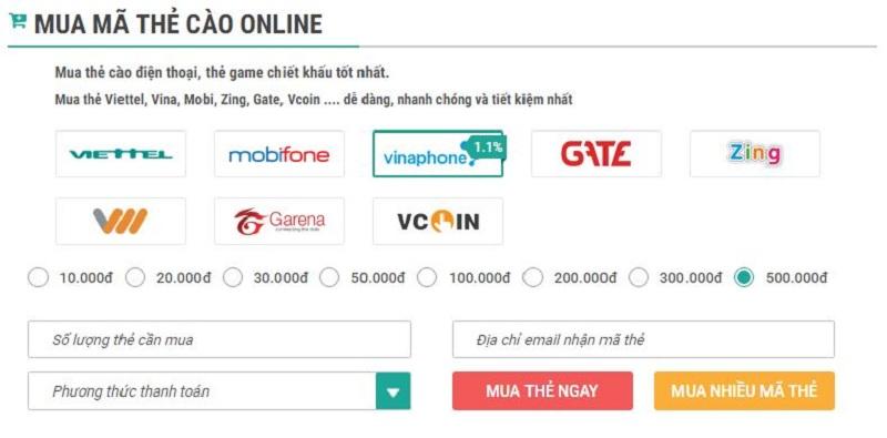 Thu ngay bí quyết mua thẻ với cách mua thẻ điện thoại từ muathe24h.vn