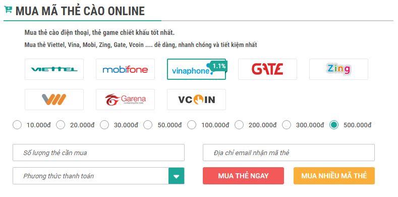 Mua thẻ điện thoại Vinaphone online tại Muathe24h