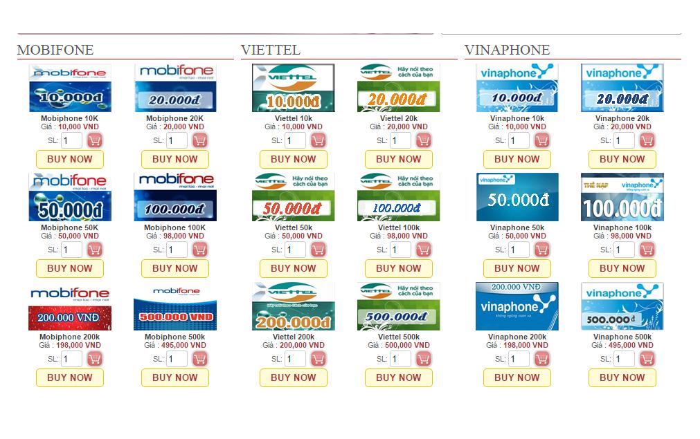 Mua thẻ Mobifone online mệnh giá thẻ nạp đa dạng