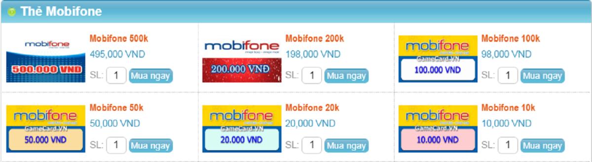 Mua thẻ Mobifone online chiết khấu cao