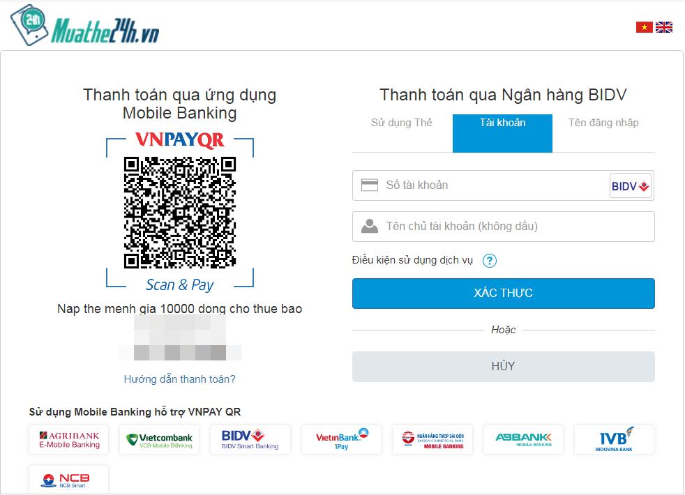 Hoàn tất thông tin để thực hiện giao dịch nạp tiền điện thoại BIDV