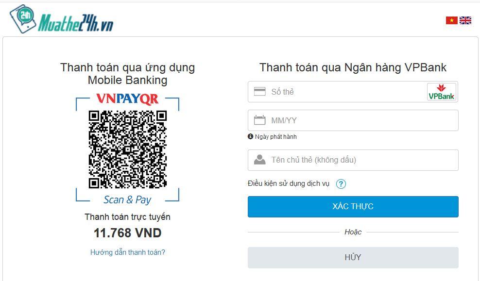 Nạp thẻ cào điện thoại qua ngân hàng VPBank