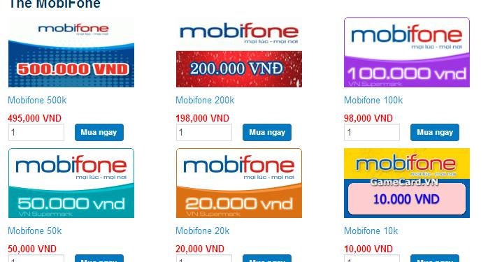 Nạp tiền điện thoại Mobifone dễ dàng