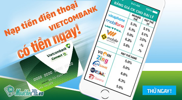 Cách nạp tiền điện thoại Vietcombank chiết khấu khủng 14%